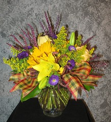"#20ED $75 as shown this delightful bouquet of yellow roses, sunflowers, purple asters, solidago, grevillea and salal foliage • <a style=""font-size:0.8em;"" href=""http://www.flickr.com/photos/39372067@N08/4879061523/"" target=""_blank"">View on Flickr</a>"