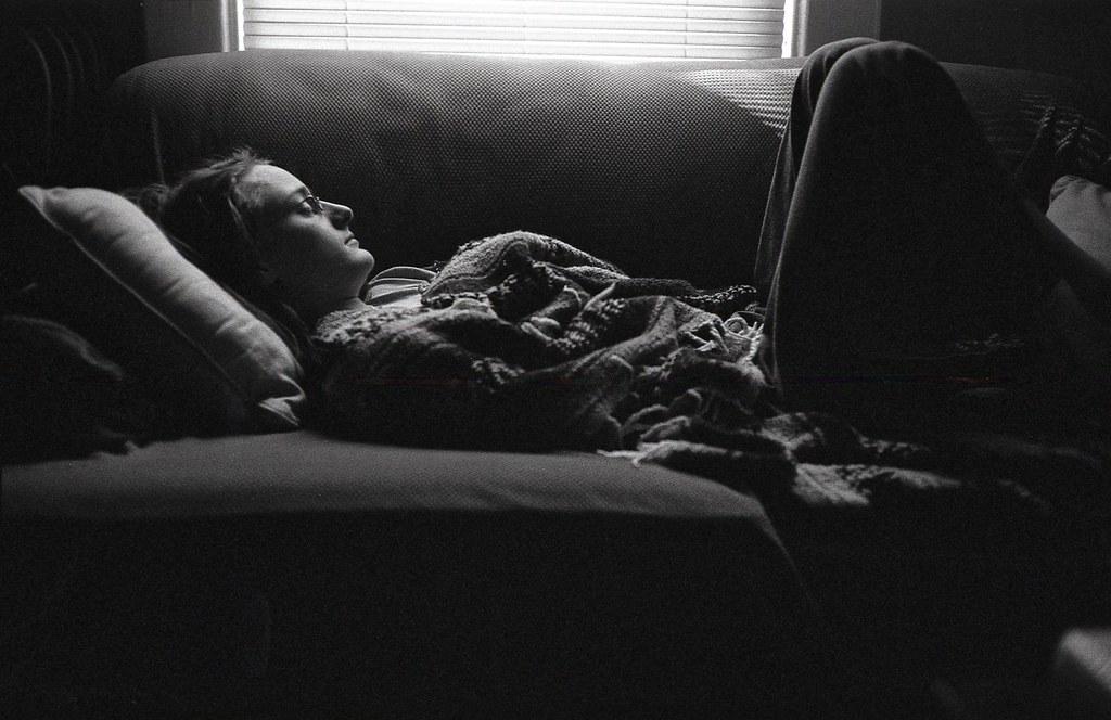elizabeth napping on the sofa