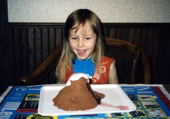 Christina (4) and her volcano experiment, 1994.