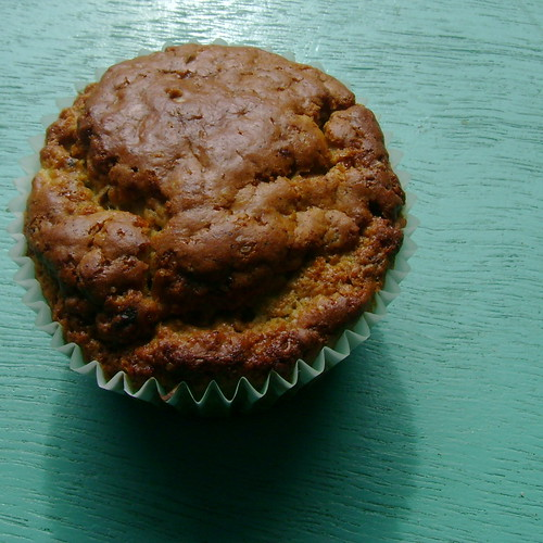 This muffin has a face. And it's glaring at me.