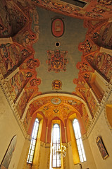 Slovenia - Ljubljana - Castle Chapel Interior (Darrell Godliman) Tags: travel copyright orange building travelling castle tourism church strange architecture weird nikon europe heraldry coatofarms distorted interior eu wideangle chapel ceiling lookingup slovenia ljubljana unusual slovenija twisted europeanunion castlehill allrightsreserved skewed heraldic coatsofarms travelphotography cerkev europeseunie ljubljanskigrad slovenien ljubljanacastle unineuropea instantfave unioneuropenne castlechapel republikaslovenija omot  travelphotographer flickrelite dgphotos darrellgodliman wwwdgphotoscouk d300s dgodliman nikond300s slovenialjubljanacastlechapelinteriordsc2500