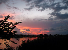 Mother Nature's Sunset Celebration (Louise Lindsay) Tags: sunset water clouds florida stillwater kl keylargo twlight floridabay infocus cloudreflections highquality 81510 infocushighquality