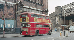 Waterloo Road, SE1, London, 1977 (Lady Wulfrun) Tags: red bus london waterloo 1977 lt londontransport aev regentiii rt3141 kxw250