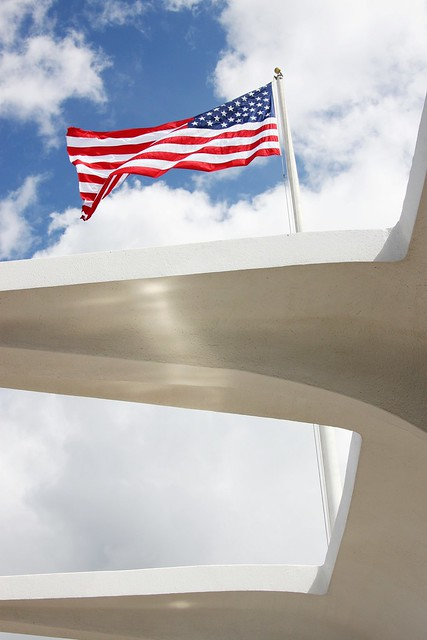 Flag Over The USS Arizona Memorial