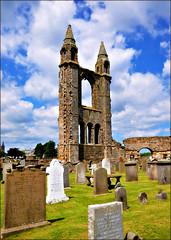 St. Andrews Cathedral (blamstur) Tags: sky cemetery graveyard clouds scotland cathedral spires ruin headstones standrews gravestones 15challengeswinner