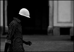 on black (paolomezzera) Tags: street portrait blackandwhite white man black face hat shirt walking torino head candid stripes streetphotography cap turin ritratto piazzasancarlo cappello faccia testa canonef85mmf18 berretto paulmezzer theauthorsplaza authorsclub