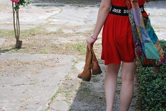 """""""Joie de Vivre"""" (LeanoraB) Tags: red summer girl bag holding junk texas dress legs boots pavement houston sunny company sidewalk messenger heights bushes cracked lucchese joiedevivre"""