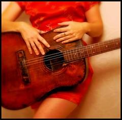 Guitar red dress (Suzen JueL - Resistance) Tags: minnesota garden tomato tea wildlife stpaul minneapolis dresses sunflowers twincities suzenjuel
