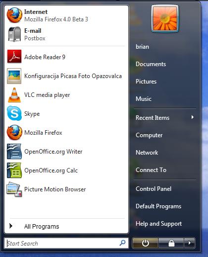 Vista Start menu