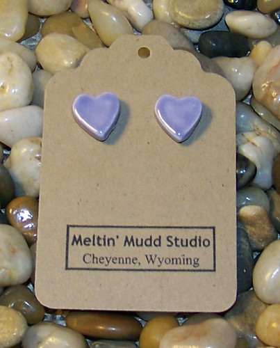 Orchid Lover - Pair of Handcrafted Ceramic Heart Stud Earrings