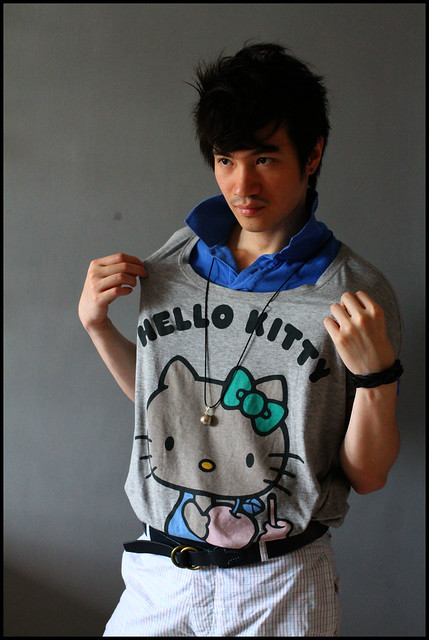 Boy in Hello Kitty Tee