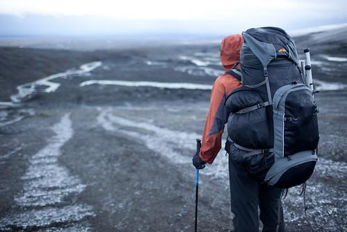 Looking down from the Hofsjökull glacier towards the headwaters of the Þjórsá river