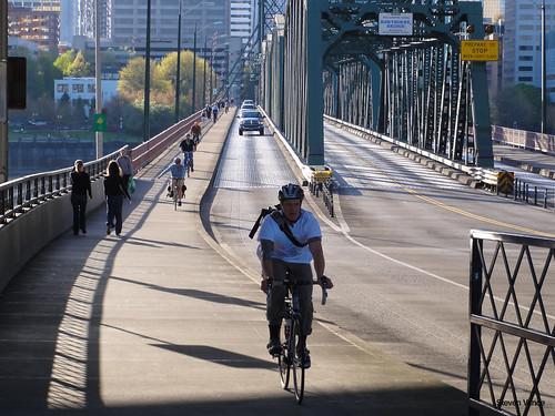 Busy bicycling bridge
