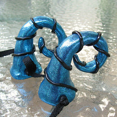 Blue and Black Curled Dragon Horns - closeup