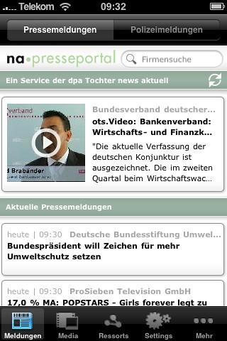Startseite iPhone-App Presseportal.de