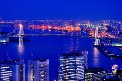 Tokyo Bay at Dusk (hidesax) Tags: bridge urban reflection japan skyline buildings tokyo evening rainbow nikon cityscape dusk shinagawa odaiba bluehour nikkor tokyobay rainbowbridge ooi d90 nikkor85mmf14d nikond90 hidesax tokyobayatdusk