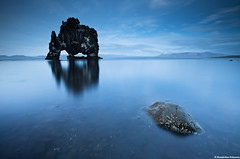 Blue Hour in Hnafli, north Iceland (skarpi - www.skarpi.is) Tags: ocean blue sea sculpture beach rock canon reflections island reflecting bay iceland stones north smooth shoreline silk dramatic blues calm formation bleu silence hour coastline form bluehour drama stillness sland 2010 outoftheblue thebluehour skulpture hnavatnsssla hvitserkur hnafli hvtserkur mywinners fli vesturhnavatnsssla skarpi vesturhunavatnssysla serkur serkurinn