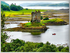 Stalker castle, Scotland (jackfre2 (on a trip-voyage-reis-reise)) Tags: greatbritain trees red mountains castle island scotland boat highlands scenery argyll highlander medieval shore montypython holygrail stalker glencoe oban loch picturesque motorboat scrub islet authentic ballachulish towerhouse redboat portappin stalkercastle lochlaich impressedbeauty platinumheartaward summer2009 mygearandme mygearandmepremium mygearandmesilver dblringexcellence