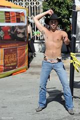 Cowboy Dance (naturalturn) Tags: sanfrancisco california shirtless usa man hat costume cowboy folsom jeans western folsomstreetfair 2010 folsomstreet image:rating=4 folsomstreetfair2010 folsomstreet2010 image:id=106152