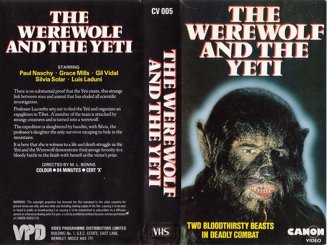THE WEREWOLF AND THE YETI (VHS Box Art)