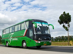 Maria's Great Pose (markstopover 1) Tags: china 3 bus green lines three high code long king nissan with diesel maria name air transport engine most transit nd tres trans wei kl powerful aircon con cr incorporated laoag ud liner codename decker regular sampaloc farinas tatlo farias xmq6129y longwei md9m xmq6129 markstopover markstopover002