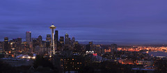 DSC_5050 (mingzkl) Tags: seattle urban skyline night harbor downtown panoramic spaceneedle nikkor105mmf25ais