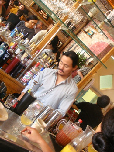 Enzo Lim behind the bar at pop up Maharlika.