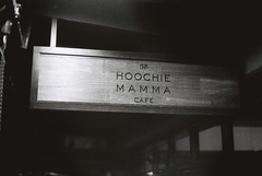 Hoochie Mamma Cafe (goodfella2459) Tags: nikon f4 af nikkor 50mm f14d lens ilford delta 3200 35mm blackandwhite film analog hoochie mamma sign cafe sydney streets night bwfp milf