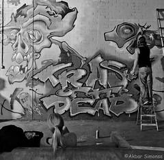 Trash of the Dead (Akbar Simonse) Tags: roosendaal holland netherlands nederland graffiti inside theloods streetphotography streetshot straatfotografie straatfoto people candid artistatwork werkinuitvoering zwartwit bw blancoynegro bn monochrome vierkant square akbarsimonse