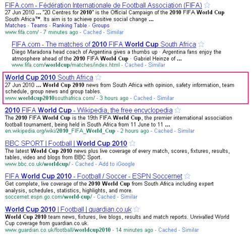 World Cup 2010 Search Results