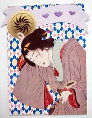 ATC364 - Holding on to her robe (tengds) Tags: flowers blue brown yellow atc collage heart lilac geisha kimono papercraft japanesepattern handmadecard paperribbon nailsticker japanesecrest tengds japanesepatternprint