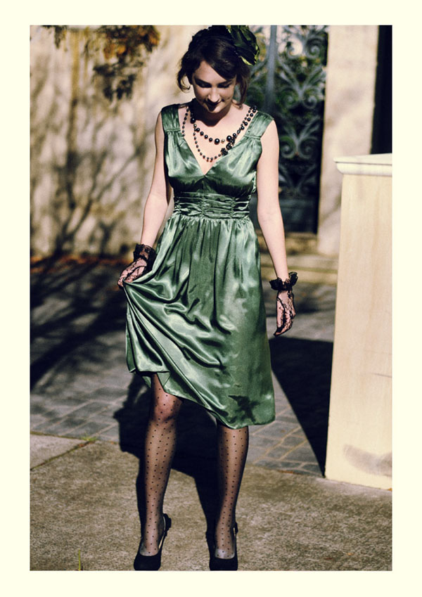 Green Silk Monroe Dress, Vintage Fashion Photography