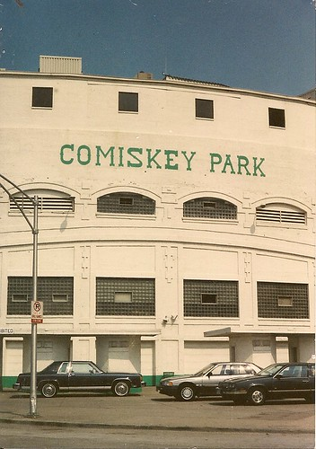 Chicago's original Comiskey Park Stadium on West 35th Street. ( Demolished / Replaced with new stadium across the street.) Chicago Illinois circa late 1980's. Dennis Madia photograph.