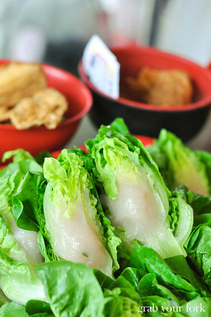 Green vegetables stuffed with fish paste