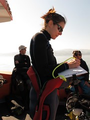 filling out dive slate (squeezemonkey) Tags: boat diver anglesey holborndiver diveslate questdiving