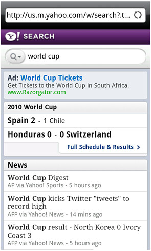 Yahoo! Search Android Widget World Cup Results