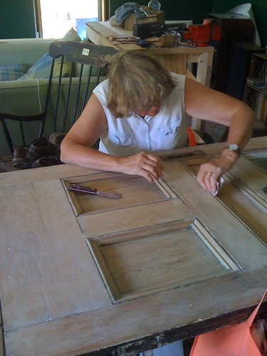 Judy working on the front door