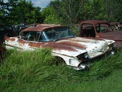 1958 Cadillac Series 62 Sedan (carcrazy6509) Tags: old classic cars abandoned car sedan truck antique rusty cadillac rusted 1958 series trucks junkyard 62 missourri