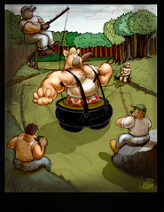 Fishermen (Beefyblimps) Tags: fisherman woods muscle beefy cigar swamp macho stogie