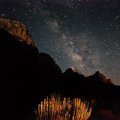 The Milky Way & Light-Painted Watchman Mtn @ Zion NP (NikonKnight) Tags: longexposure light sunset moon sunrise nationalpark moonrise zion zionnp moonset zions milkyway watchman lightpaint thegalaxy watchmanmountain