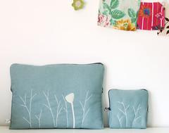 White nature laptop case set (Mundo Flo) Tags: blue white mac aqua handmade linen embroidery laptop crafts felt case bags purses