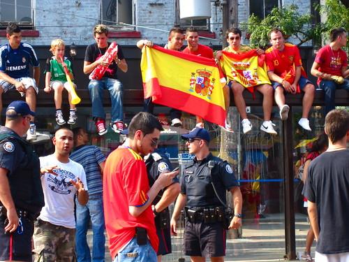 Spain fans on College Street