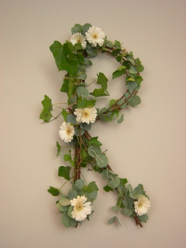 Monogram letter R with ivy, gerbera and eualyptus