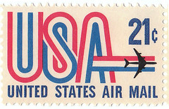 United States Air Mail 21 cent stamp (TrickDaley) Tags: old blue red usa white vintage post stamp collection usps postage airmail