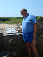 The National Trust  sign at Barafundle Bay, Pembrokeshire (pj's memories) Tags: beach sunglasses wales seaside shorts speedo nationaltrust pembrokeshire barafundlebay