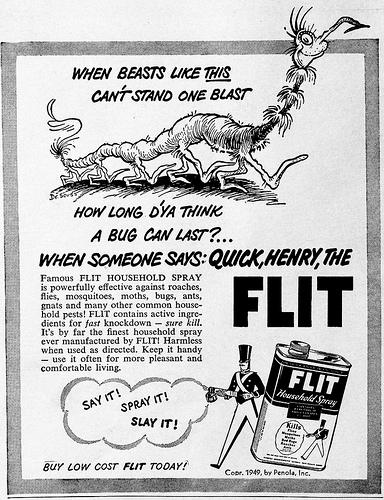 Ted Geisel/Dr. Seuss Flit Ad 1950