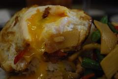Kai Pad Krapow with Egg - close-up - Chilli Cafe AUD10.90 (avlxyz) Tags: chicken restaurant cafe egg melbourne thai basil vic friedegg chilli yolk runnyyolk holybasil melbournevic padkrapow chillicafe phatkraphao kaiphatkaphrao ไก่ผัดกะเพรา