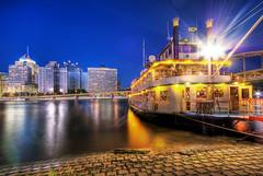 A Ride On The Ferry (Brad Truxell) Tags: city longexposure bridge light blur reflections river lights boat dock nikon downtown pittsburgh cityscape dusk path pirates culture sigma walkway 1020mm ballpark d60 nikond60