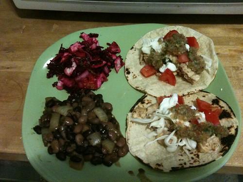Catfish tacos, beets, beans