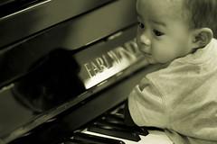 Music In me. (kymioflario) Tags: music baby cute adam childhood asian infant photoshoot adorable victoria talent malaysia sound enthusiast through alpha ahmad muzik learn vi talented strobe voices institution a700 hilmy hakym kymioflario enthusiams